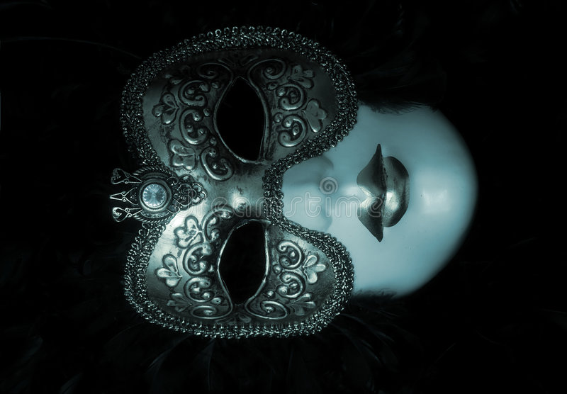 Venetian Mask. With diamond and feathers royalty free stock image