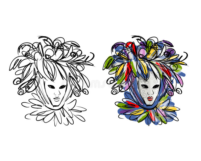 Venetian mask, sketch for your design. Vector illustration vector illustration