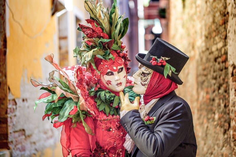 Venetian Masked Models royalty free stock photography