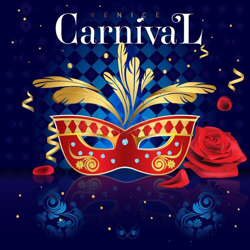 Venetian maskering för affisch för karneval röd och guld-, med diamanter och rosor på en blå geometrisk bakgrund i illustrationen vektor illustrationer