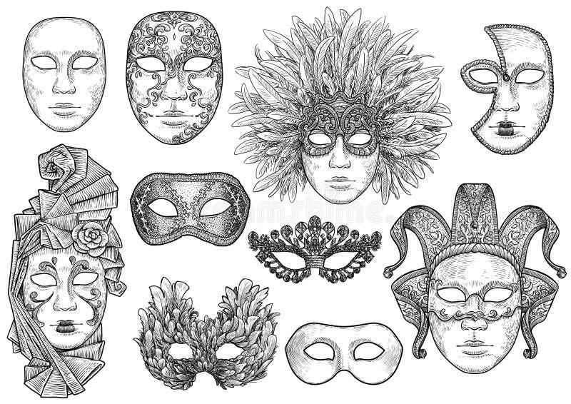Venetian maskeringsillustration, teckning, gravyr, färgpulver, linje konst, vektor royaltyfri illustrationer