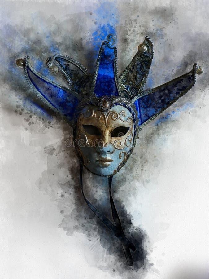 Venetian maskeringsvattenfärgillustration för affischer royaltyfri illustrationer