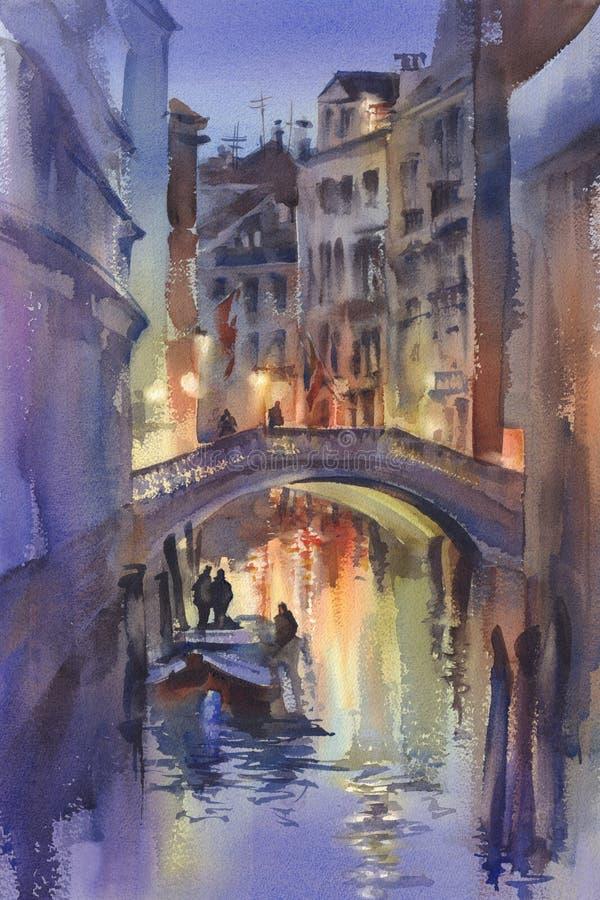 Venetian night lights watercolor landscape. A canal with gondolas under the bridge. Twilight colors royalty free illustration