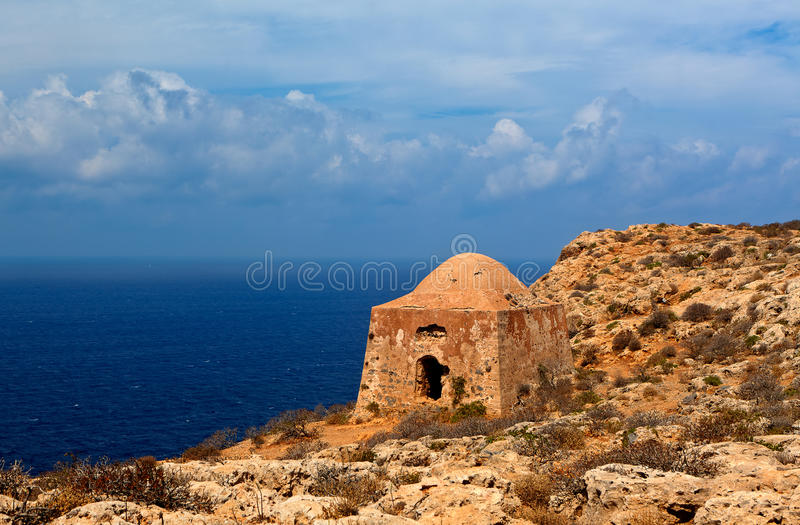 Venetian Ottoman Greek ruins fort, Imeri, Gramvousa, Crete Greece. Ruins of a bastion at the Venetian - Ottoman Turkish - Greek fortress at Imeri, Gramvousa stock photo