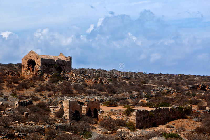 Venetian Ottoman Greek ruins fort, Imeri, Gramvousa, Crete Greece royalty free stock photo