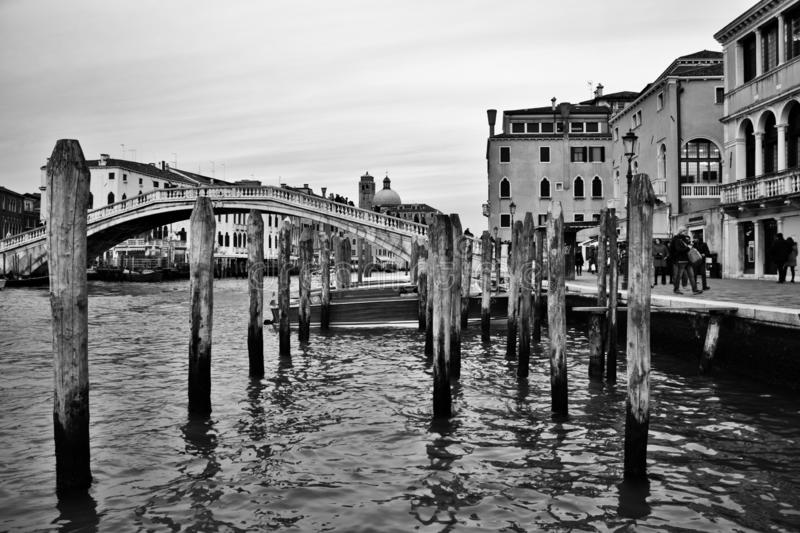 Venetian panorama, portrait in black and white, the historic and romantic city gives photographers countless points of focus. royalty free stock image
