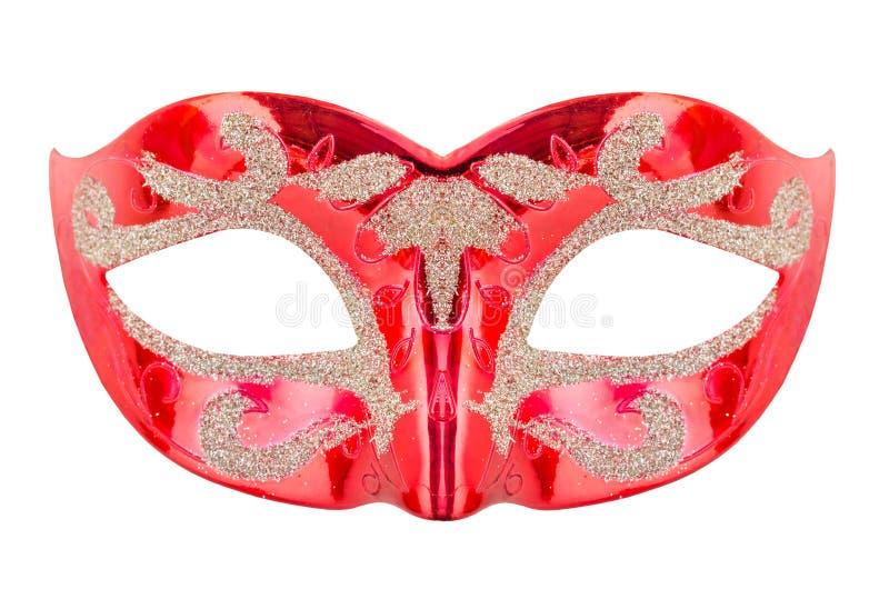 Venetian röd karnevalmaskering arkivfoto