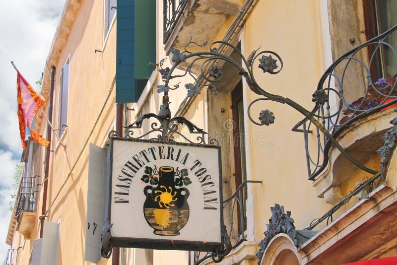 Venetian restaurang Fiaschetteria Toscana i Venedig, Italien arkivbilder