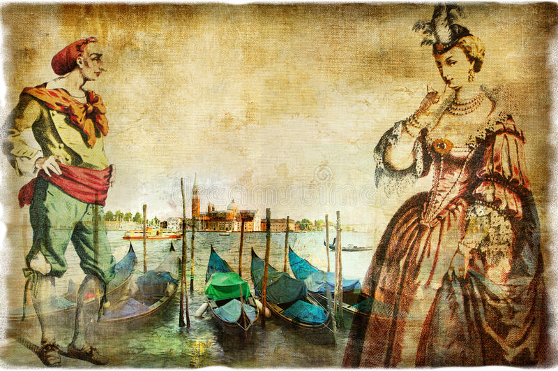 Venetian retro bilder royaltyfri illustrationer