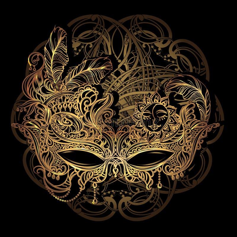 Venetian snöra åt maskeringen royaltyfri illustrationer