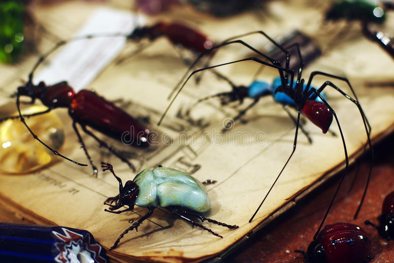 Venetian souvenir - Glass insects stock photos