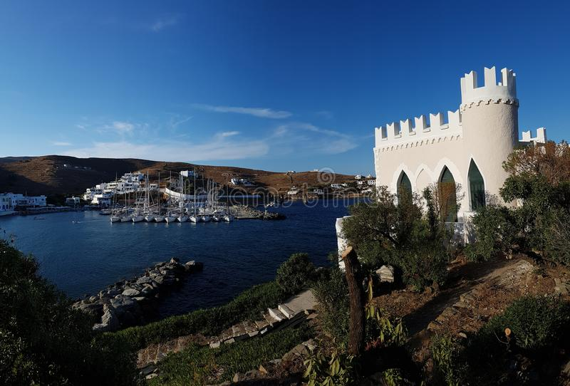 Venetian style villa in Loutra Kythnos royalty free stock images