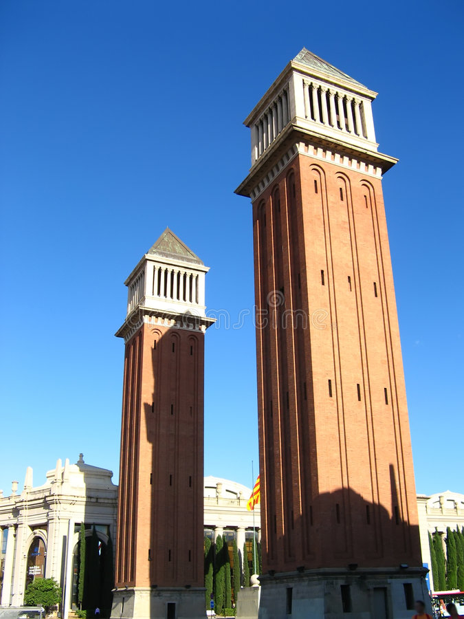 Download Venetian Towers In Barcelona Stock Photo - Image of blue, exterior: 5406892