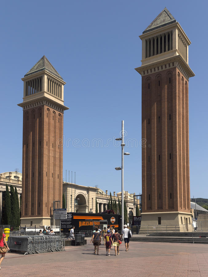Venetian towers. BARCELONA, SPAIN - JULY 6, 2015: Two Venetian towers located at Placa d'Espanya in Barcelona. The most beautiful square in the Catalan capital royalty free stock image