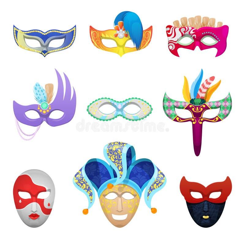 Venetian uppsättning för karnevalframsidamaskeringar för maskerad vektor illustrationer