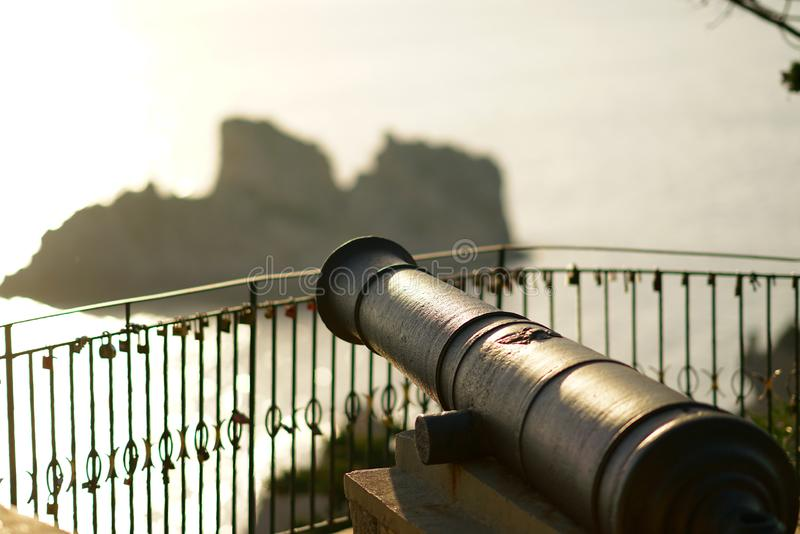 Venetian war cannon for defense of the monastery of the Virgin Mary in Paleokastritsa, Corfu royalty free stock photography
