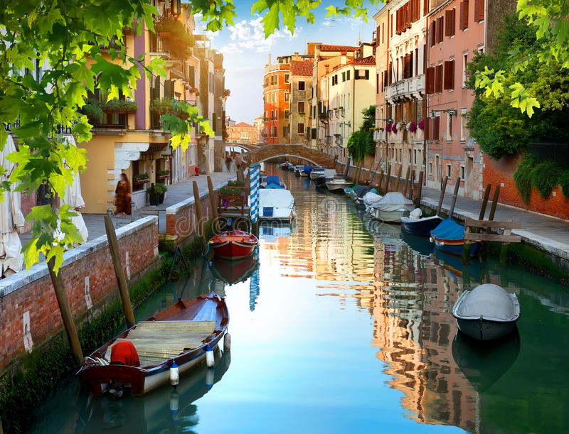 Venetian water canal stock photo