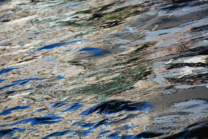 Venetian water with reflections, background. A narrow canal with various tones of colors due to the movement of the boats, in Venice, in Italy, Europe royalty free stock photo