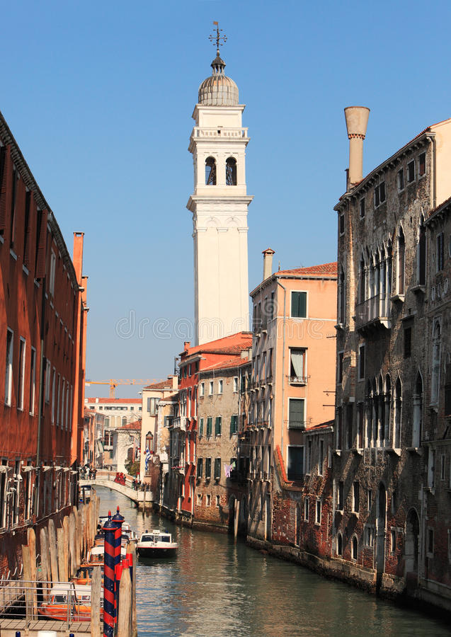 Venetian waterway. Image of a traditional narrow waterway between old buildings in Venice royalty free stock images