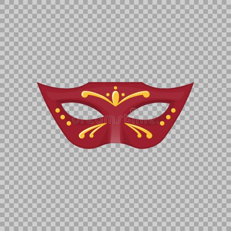 Venetianische Karnevalsmaske handgemalt auf einem transparenten Hintergrund lizenzfreie abbildung