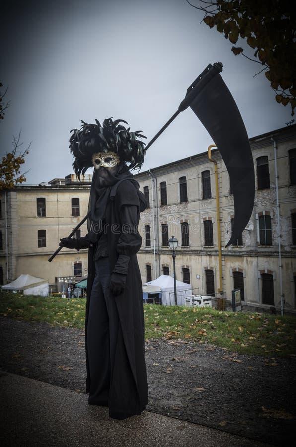 Venetianische Maske des Todes an Lucca-Comics und an Spielen 2018 stockfoto