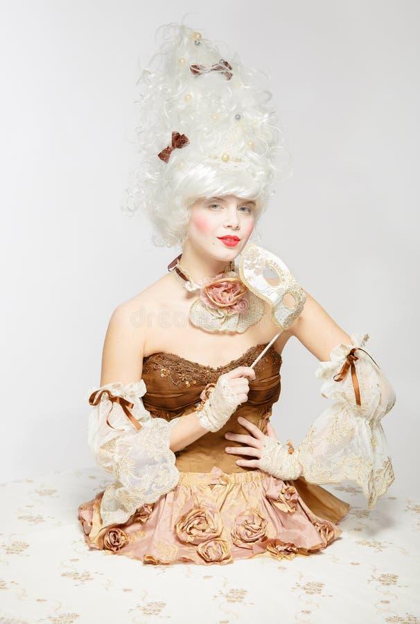 Venetianische Prinzessin. Kostümball. lizenzfreie stockfotografie