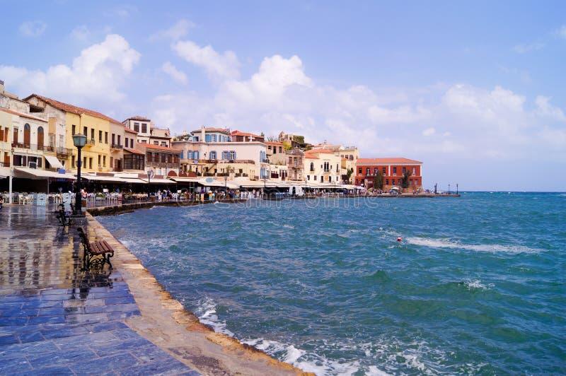 Venetianischer Hafen in Chania lizenzfreies stockbild