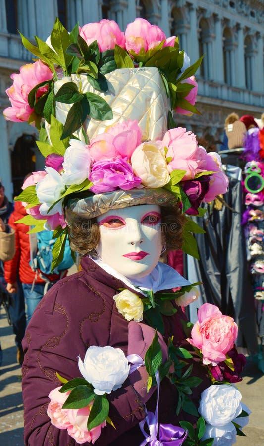 Venetianischer Karneval, blumige Maske, Venedig, Italien lizenzfreie stockbilder