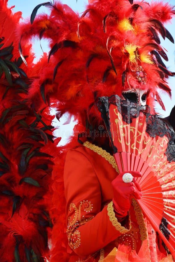 Venetianischer Karneval, elegante Maske und Federn, Venedig, Italien lizenzfreie stockbilder
