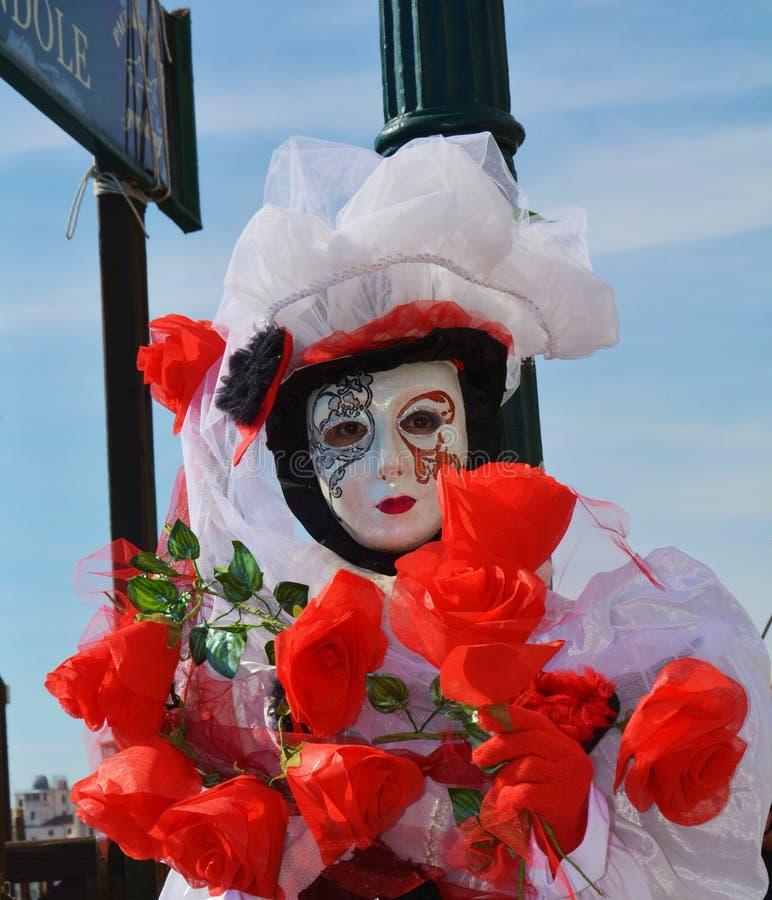 Venetianischer Karneval, weiße Maske mit Dekorationen, Venedig, Italien stockfotos