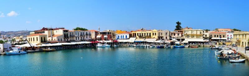 Venetianisches Hafenpanorama Rethymno stockfotos