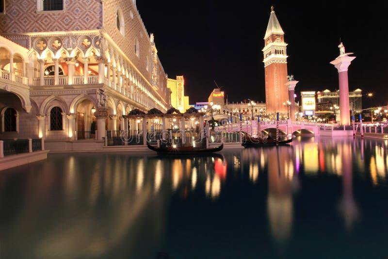 Venetianisches Las Vegas nachts stockbild