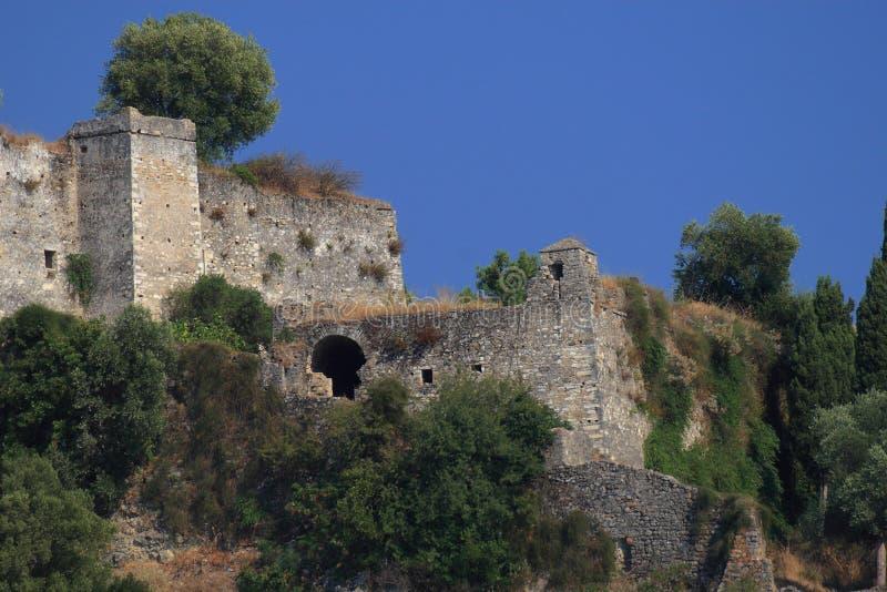 Venetianisches Schloss von Parga Griechenland stockfotografie