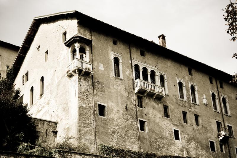 View of the ancient palace from Piazza Maggiore in Feltre, Italy. Veneto beauties in Italy, cities of art and landscapes royalty free stock images
