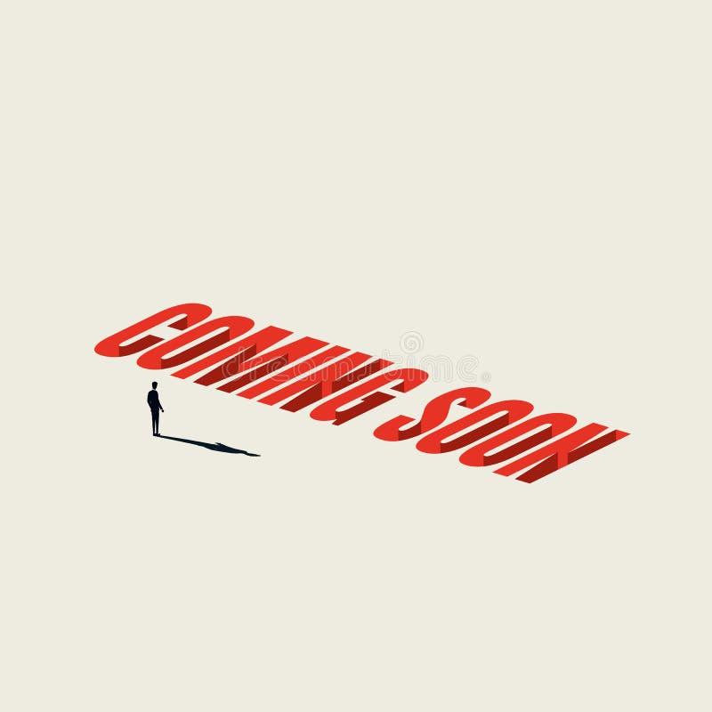 Venez bientôt fond de calibre de vecteur de signe ou de bannière avec l'homme d'affaires minimaliste Annonce en construction illustration de vecteur