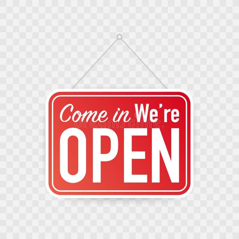 Venez dans nous sommes accrocher ouvert nous connectons le fond blanc Signe pour la porte Illustration de vecteur illustration stock