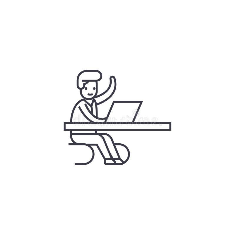 Venez dans un moment dans la ligne icône de vecteur de bureau, signe, illustration sur le fond, courses editable illustration stock