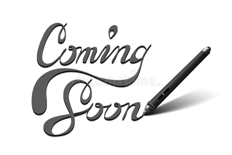 Venez lettrage bientôt calligraphique images stock