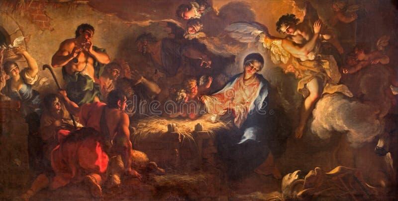 Veneza - a adoração dos pastores pelo l'Aliense da alcunha de Antonio Vassilacchi (1556 - 1629) da igreja de Chiesa di San Zaccar imagens de stock royalty free