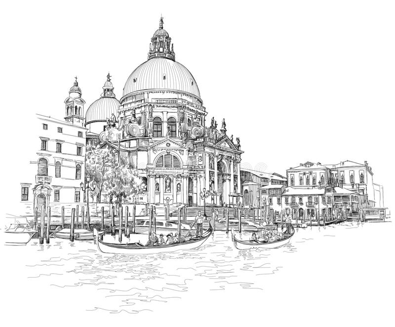 Veneza - catedral da saudação do della de Santa Maria ilustração royalty free