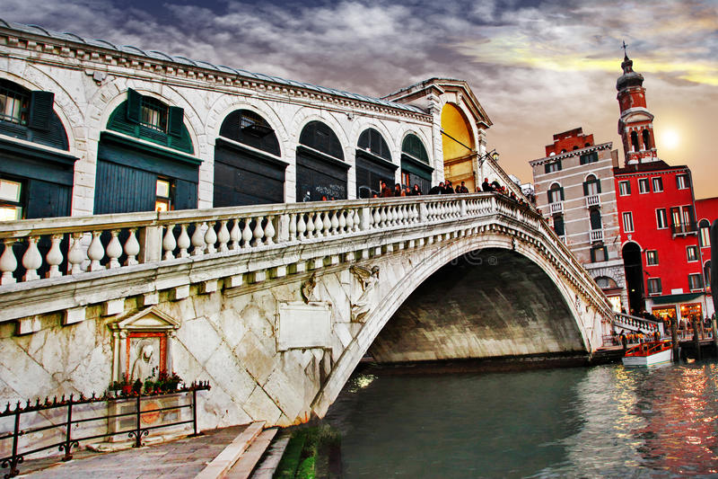 Veneza de surpresa, ponte de Rialto foto de stock