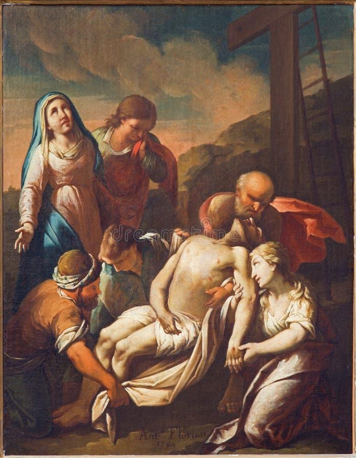 Veneza - depósito da cruz Pintura por Antonio Florian como parte do ciclo transversal da maneira na igreja San Francesco della Vi fotos de stock
