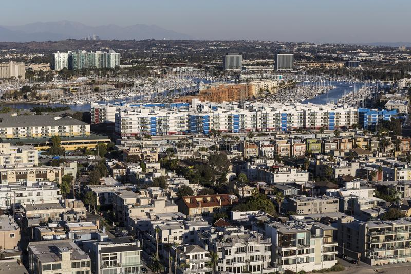 Venezia e Marina Del Rey Ocean View Homes immagine stock libera da diritti
