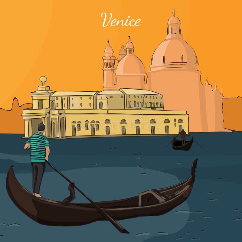 Venezia gondolian sul bello tramonto illustrazione vettoriale