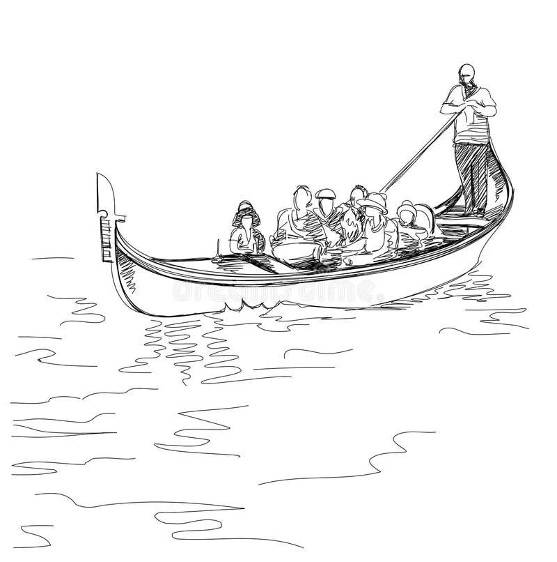Venezia L'Italia Le gondoliere galleggiano su una gondola con i turisti royalty illustrazione gratis