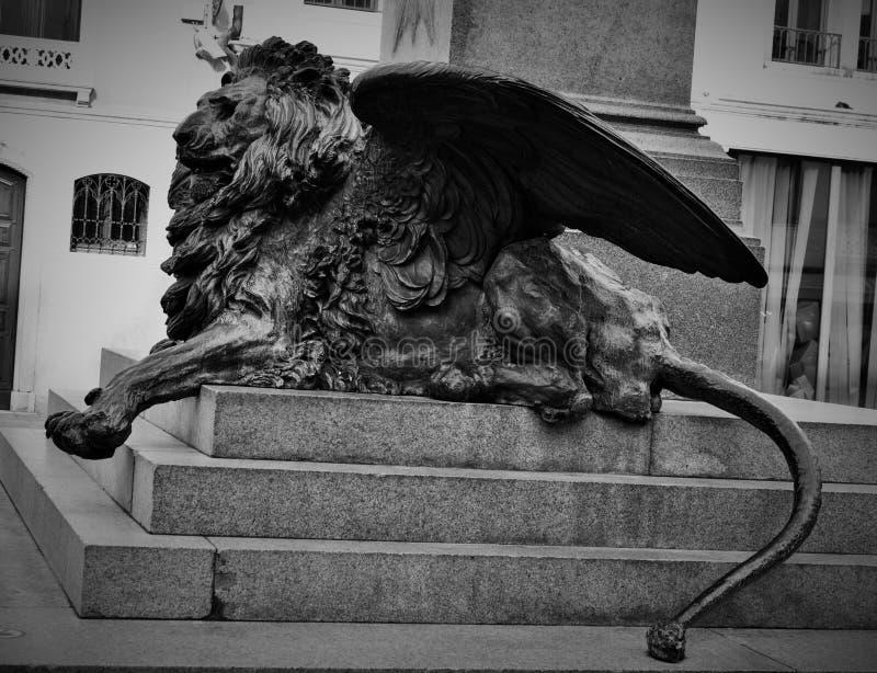 Venezia - Luigi Borro & x28; 1826-1886& x29; - Monumento en Daniele Manin & en x28; 1875& x29; royaltyfria bilder