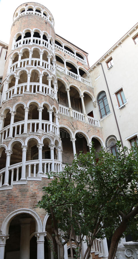 Venezia, VE, Italy - December 31, 2015:Palace with Spiral Staircase called Palazzo Contarini del Bovolo. Venezia, VE, Italy - December 31, 2015: Ancient Venetian royalty free stock photography