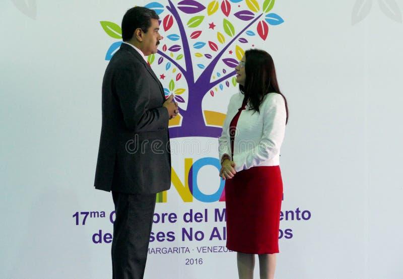 Venezolaanse President Nicolas Maduro en presidentsvrouw Cilia Flores stock afbeeldingen