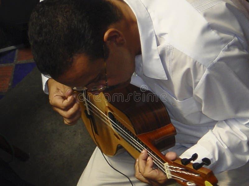 Venezolanischer Folkloremusiker Ismael Querales, der das bandola spielt stockbild