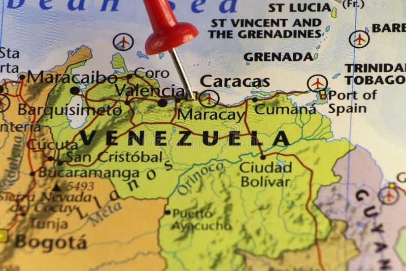 Venezuela översikt, rött stift på Caracas stock illustrationer